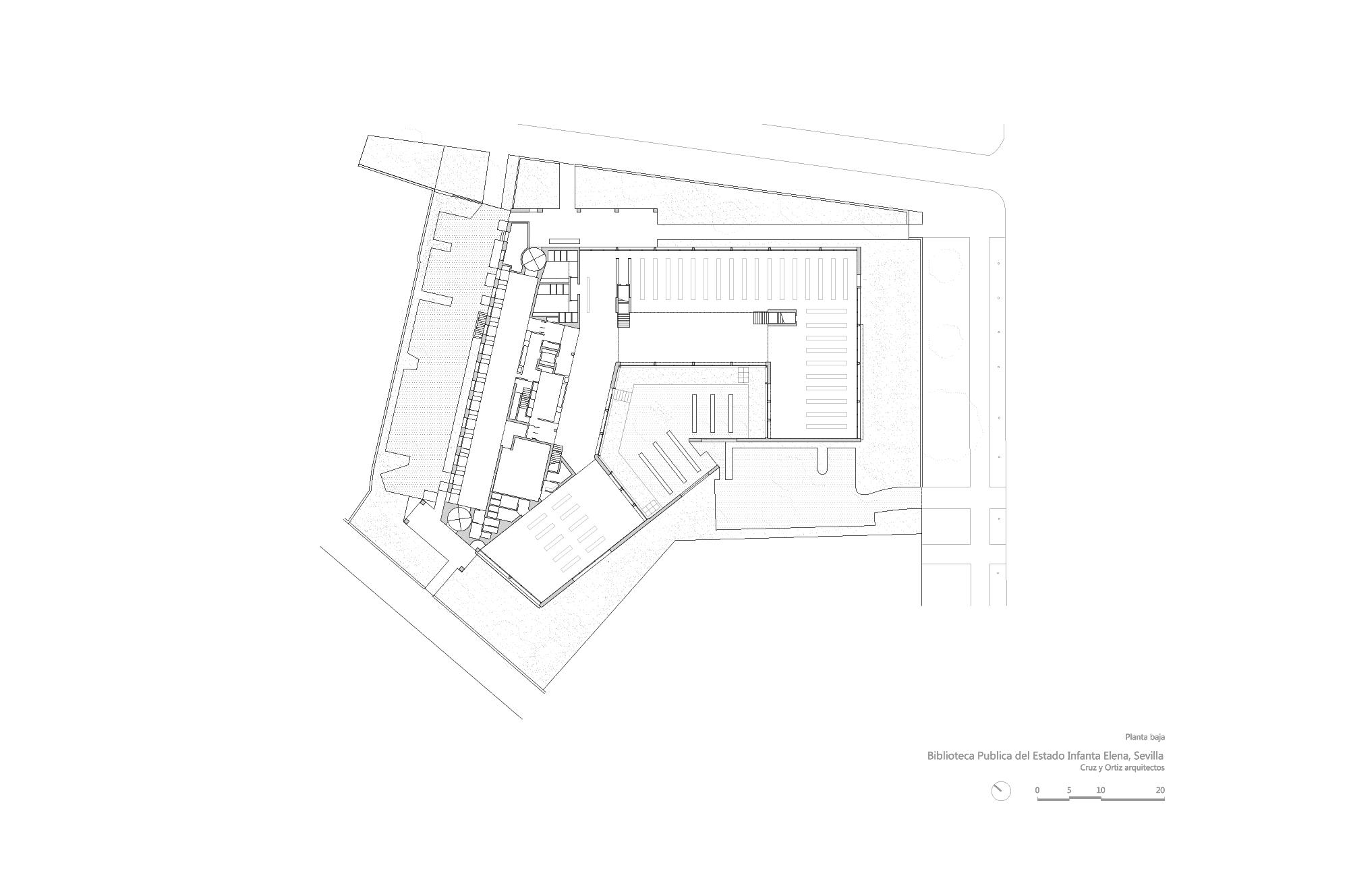 Cruz y ortiz arquitectos biblioteca infanta elena de for Planos de bibliotecas