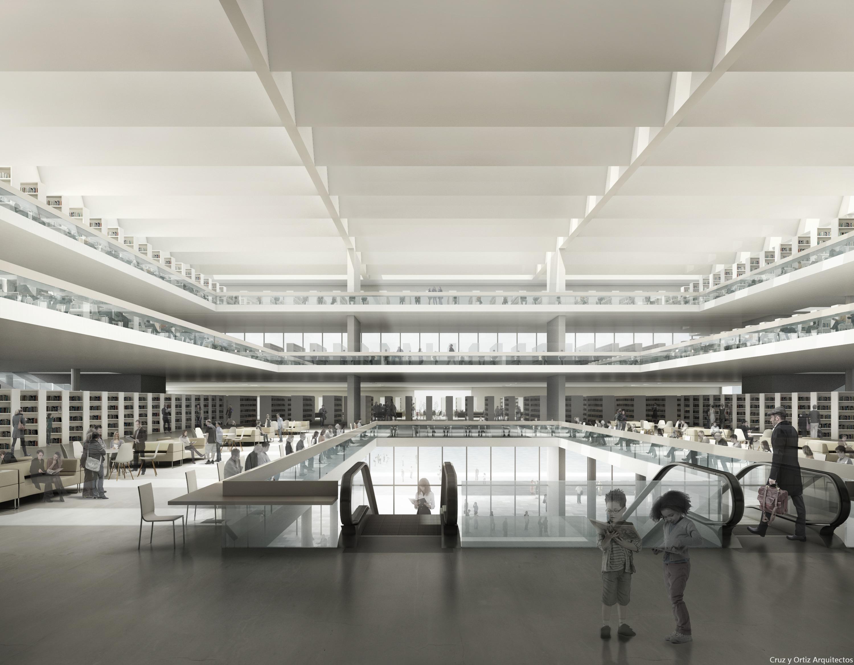 cruz y ortiz arquitectos biblioteca central en berln diseo de hall y escaleras mecnicas cruz y ortiz arquitectos